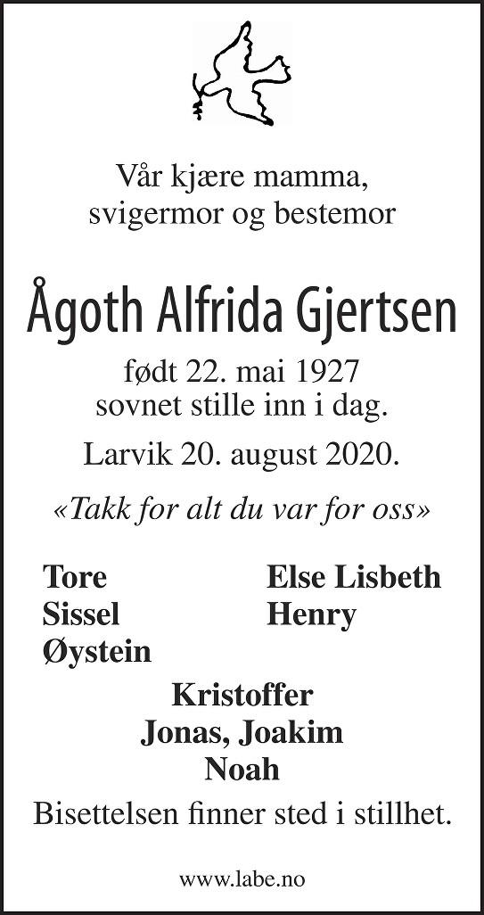 Ågoth  Alfrida Gjertsen Dødsannonse