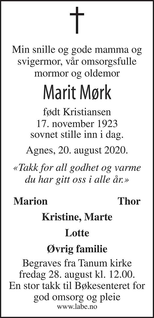 Marit Mørk Dødsannonse