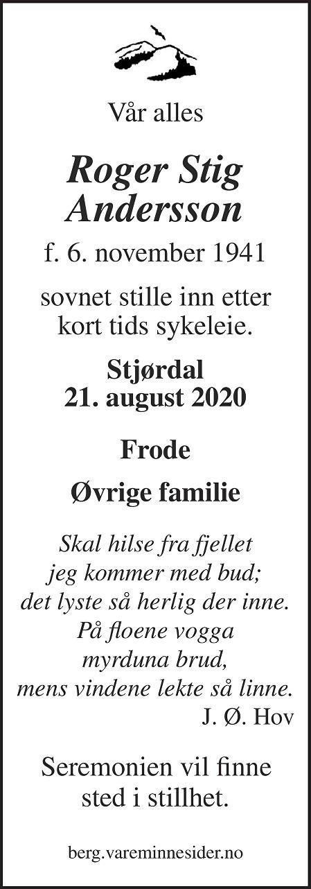 Roger Stig Andersson Dødsannonse