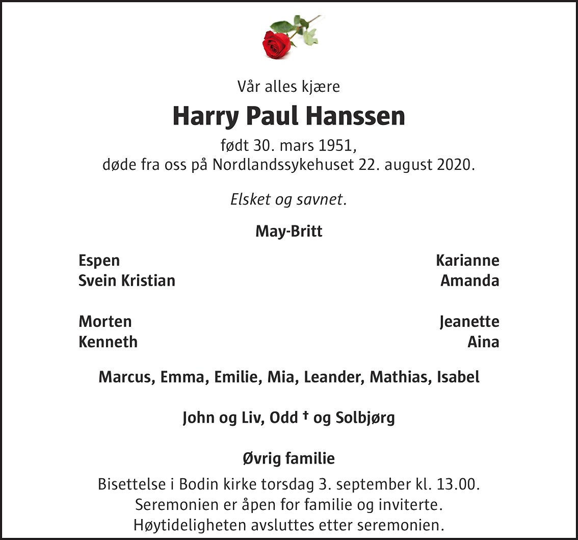 Harry Paul Hanssen Dødsannonse