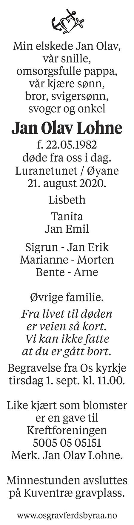 Jan Olav Lohne Dødsannonse