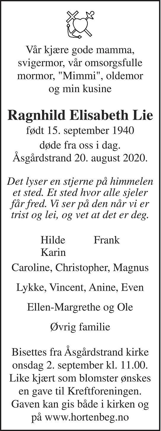 Ragnhild Elisabeth Lie Dødsannonse