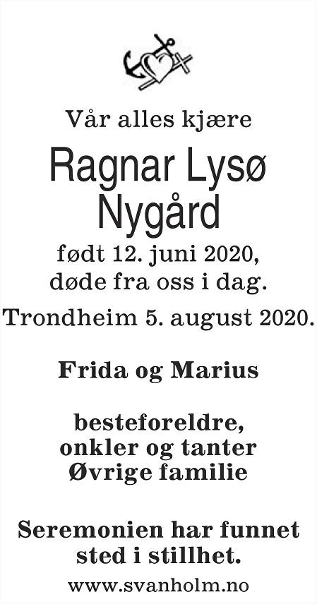 Ragnar Lysø Nygård Dødsannonse