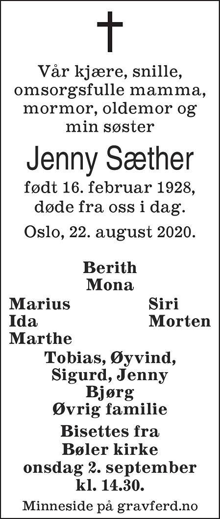 Jenny Sæther Dødsannonse