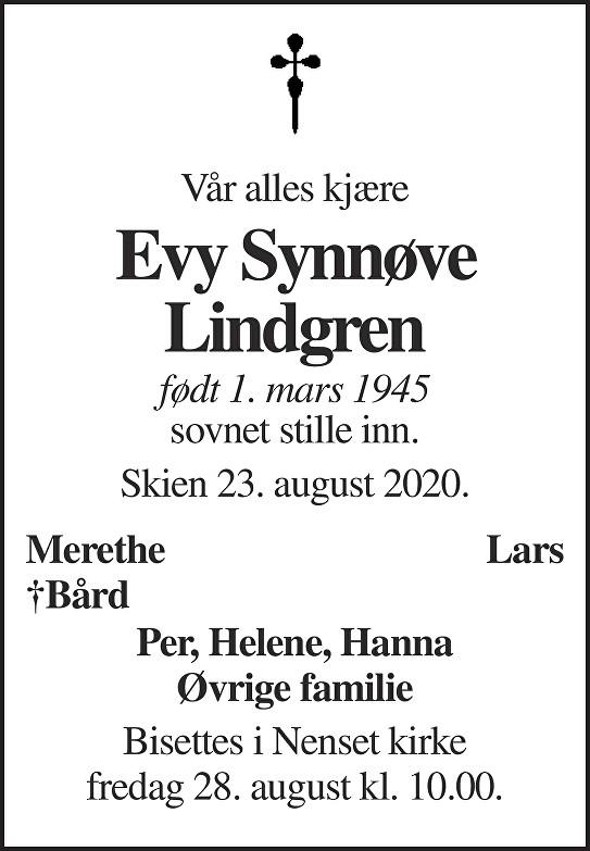 Evy Synnøve Lindgren Dødsannonse