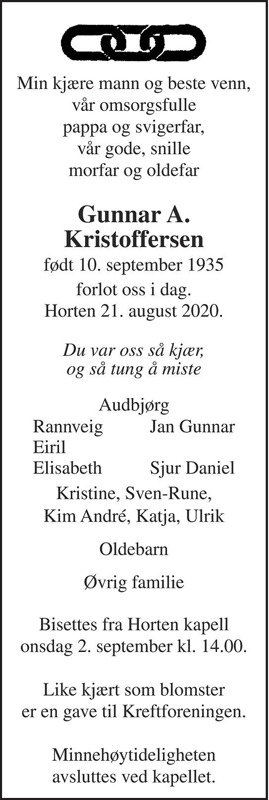 Gunnar Aleksander Kristoffersen Dødsannonse