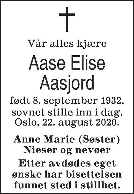 Aase Lise Aasjord Dødsannonse