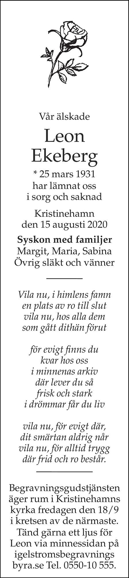Leon Ekeberg Death notice