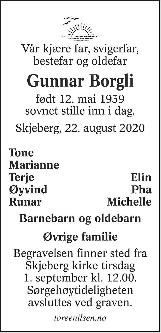 Gunnar Borgli Dødsannonse