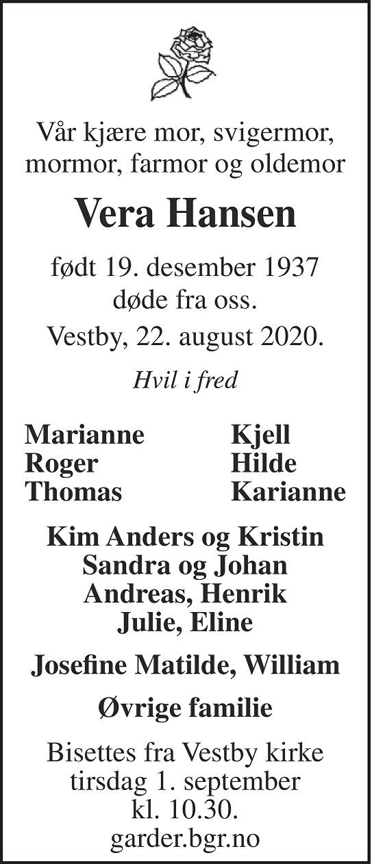 Vera Hansen Dødsannonse