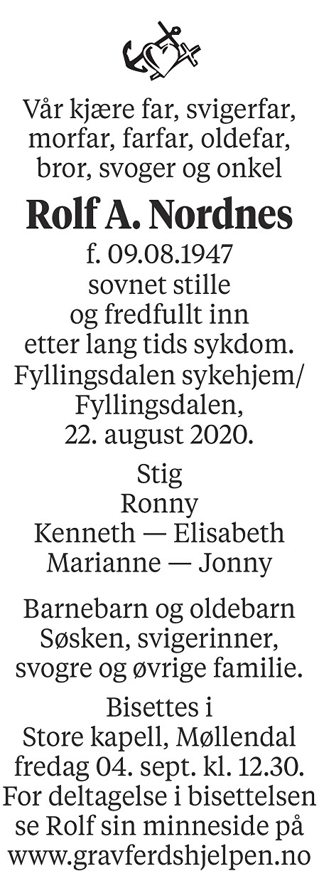 Rolf Arvid Nordnes Dødsannonse