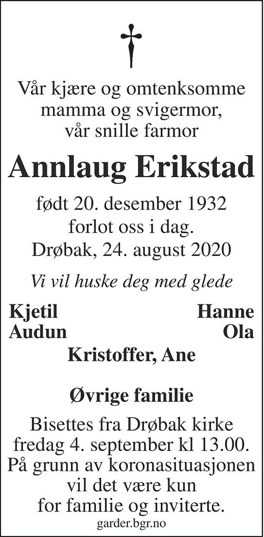 Annlaug Sigfrid Erikstad Dødsannonse