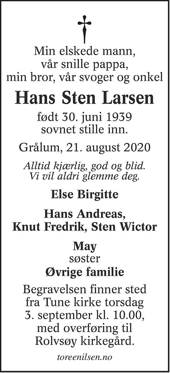 Hans Sten Larsen Dødsannonse