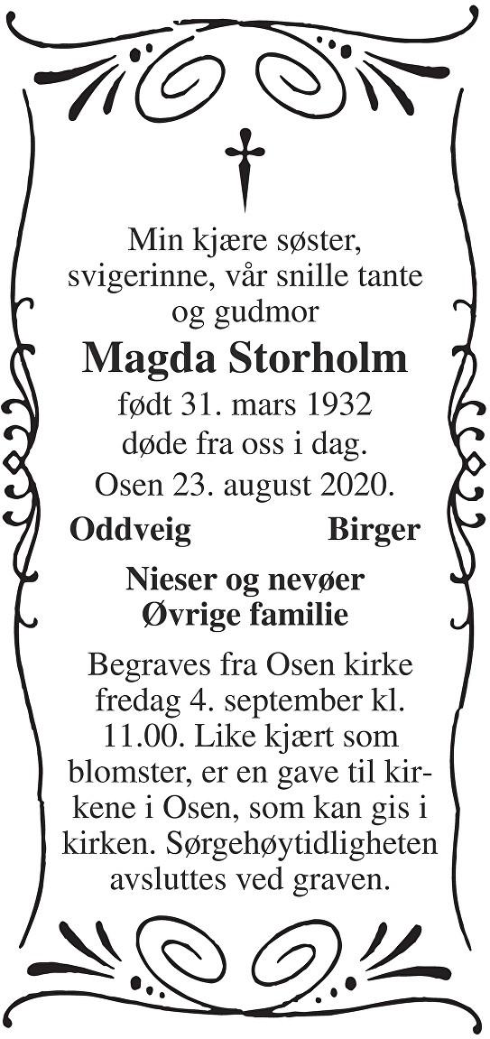Magda Storholm Dødsannonse