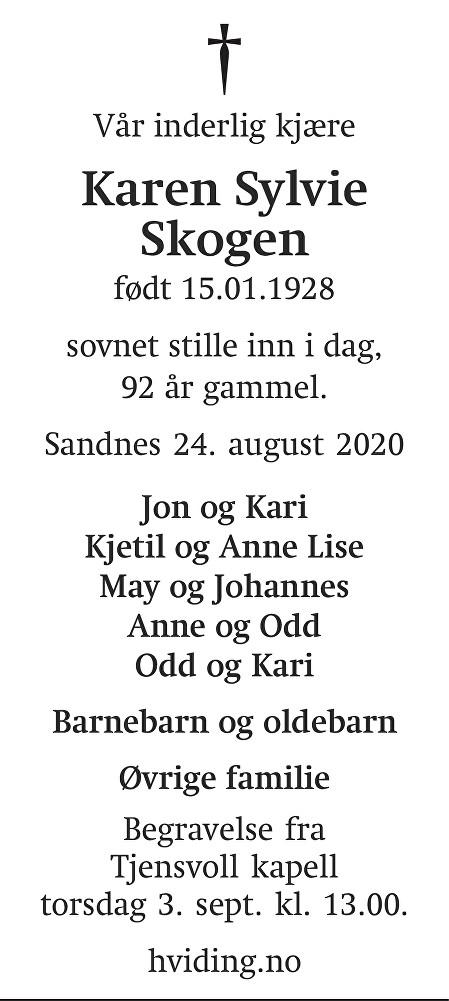 Karen Sylvie Skogen Dødsannonse