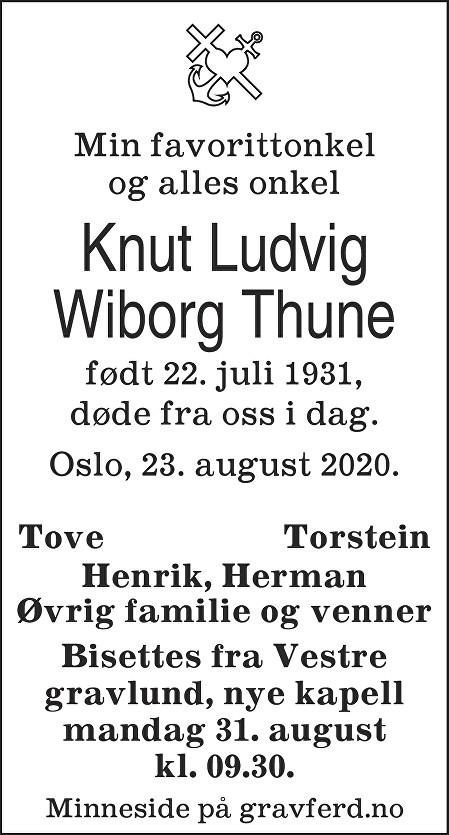 Knut Ludvig Wiborg Thune Dødsannonse