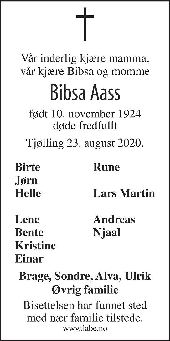 Inger Marie Grubbe Aass Dødsannonse