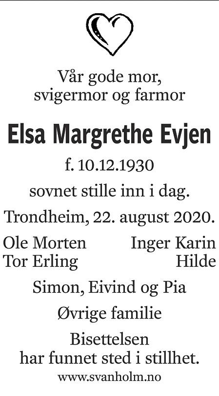 Elsa Margrethe Evjen Dødsannonse