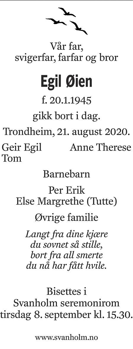 Egil Øien Dødsannonse