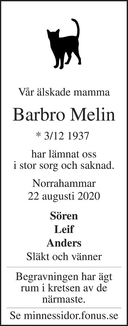 Barbro Melin Death notice