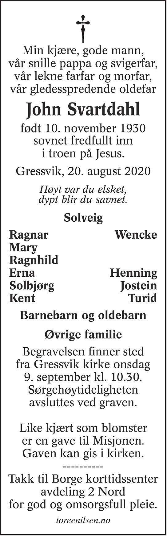 John Svartdahl Dødsannonse