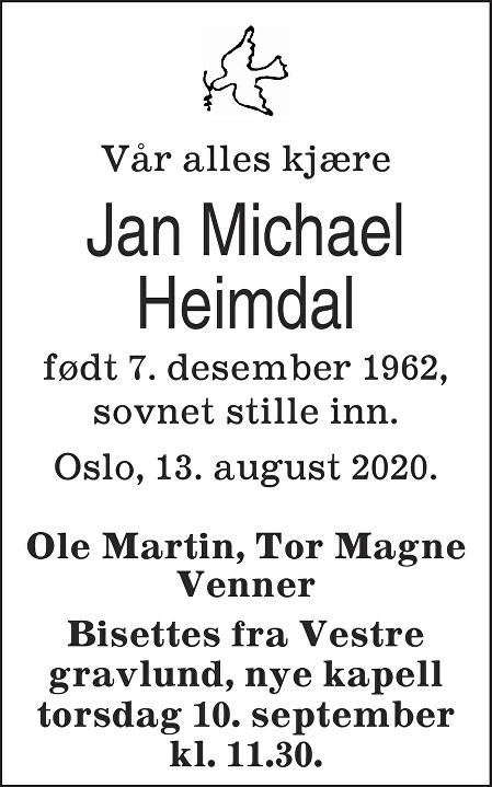 Jan Michael Heimdal Dødsannonse