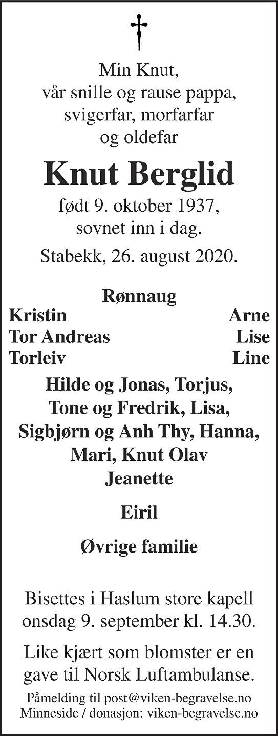 Knut Berglid Dødsannonse