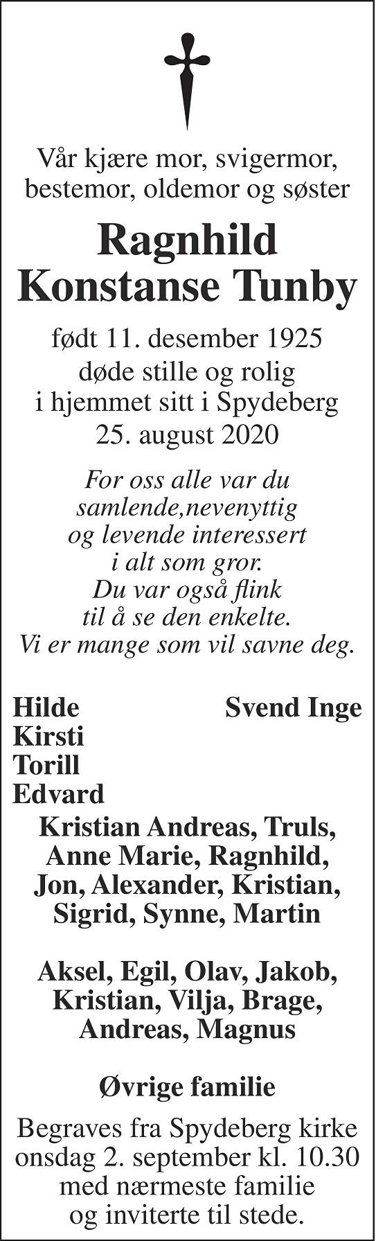 Ragnhild Konstanse Tunby Dødsannonse