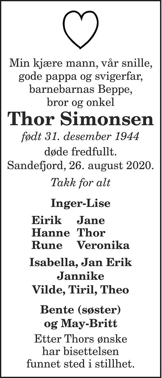 Thor Simonsen Dødsannonse