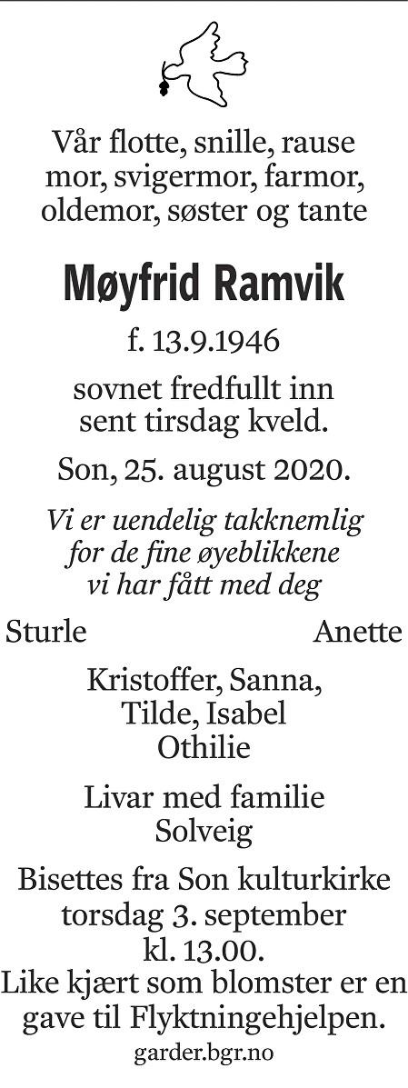 Møyfrid Kristine Ramvik Dødsannonse