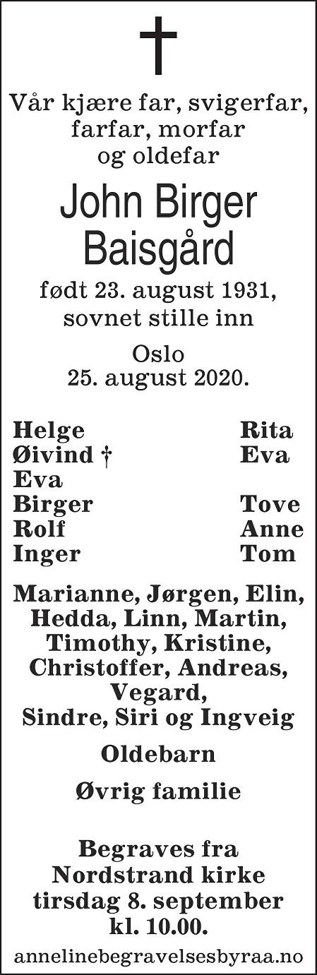 John Birger Baisgård Dødsannonse