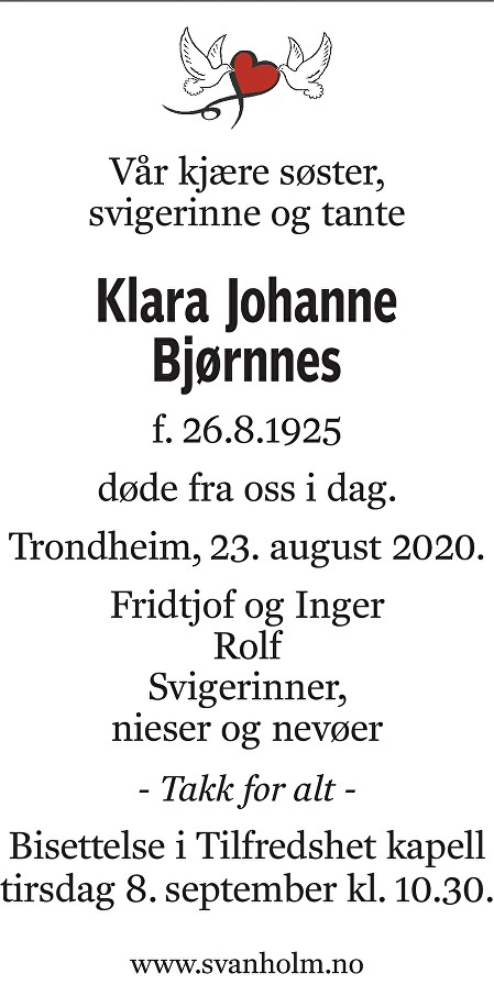 Klara Johanne Bjørnnes Dødsannonse