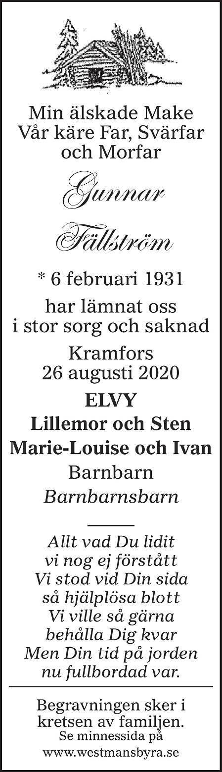 Gunnar Fällström Death notice