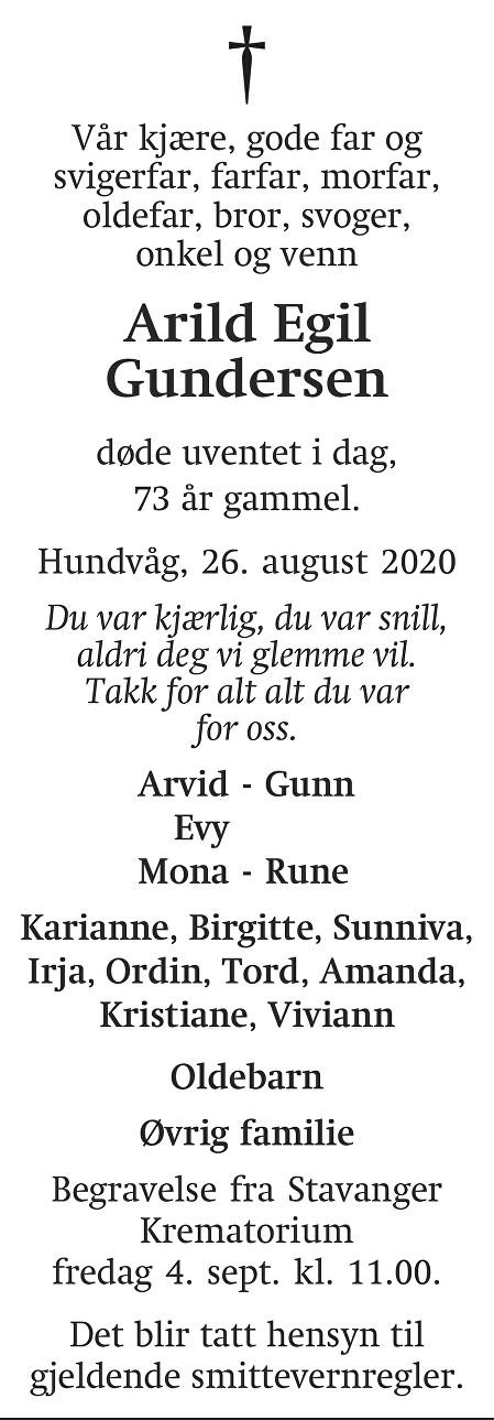 Arild Egil Gundersen Dødsannonse