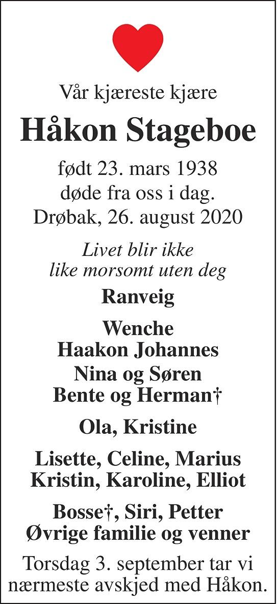 Håkon Stageboe Dødsannonse