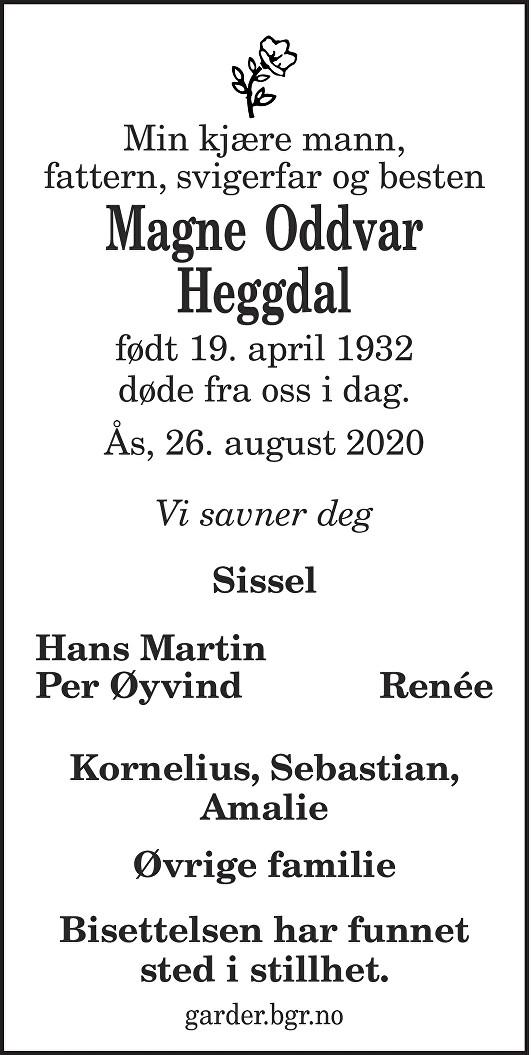 Magne Oddvar Heggdal Dødsannonse