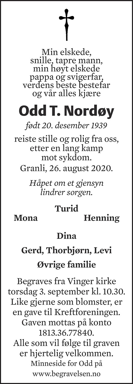 Odd Torgeir Nordøy Dødsannonse