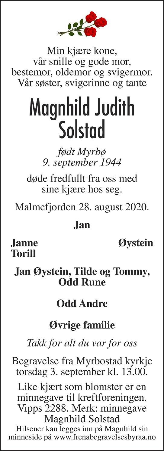 Magnhild Judith Solstad Dødsannonse