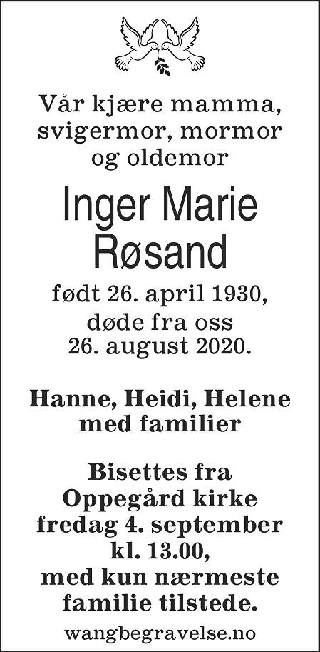 Inger Marie Røsand Dødsannonse