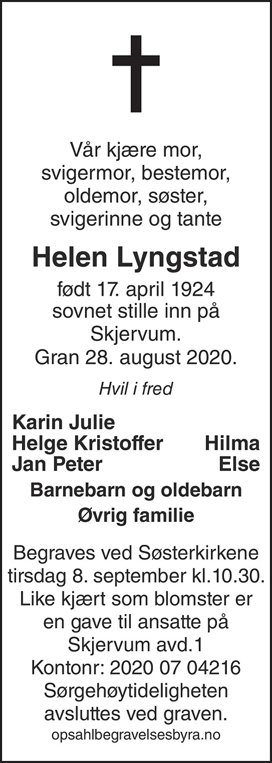 Helen Lyngstad Dødsannonse