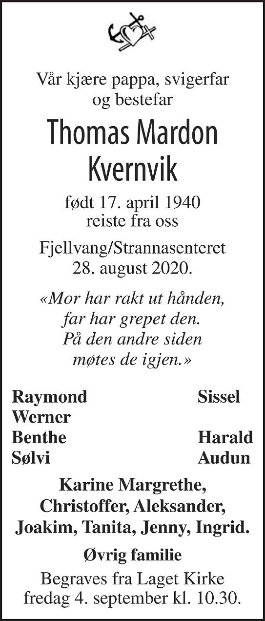 Thomas Mardon Kvernvik Dødsannonse