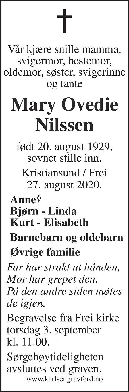 Mary Ovedie Nilssen Dødsannonse