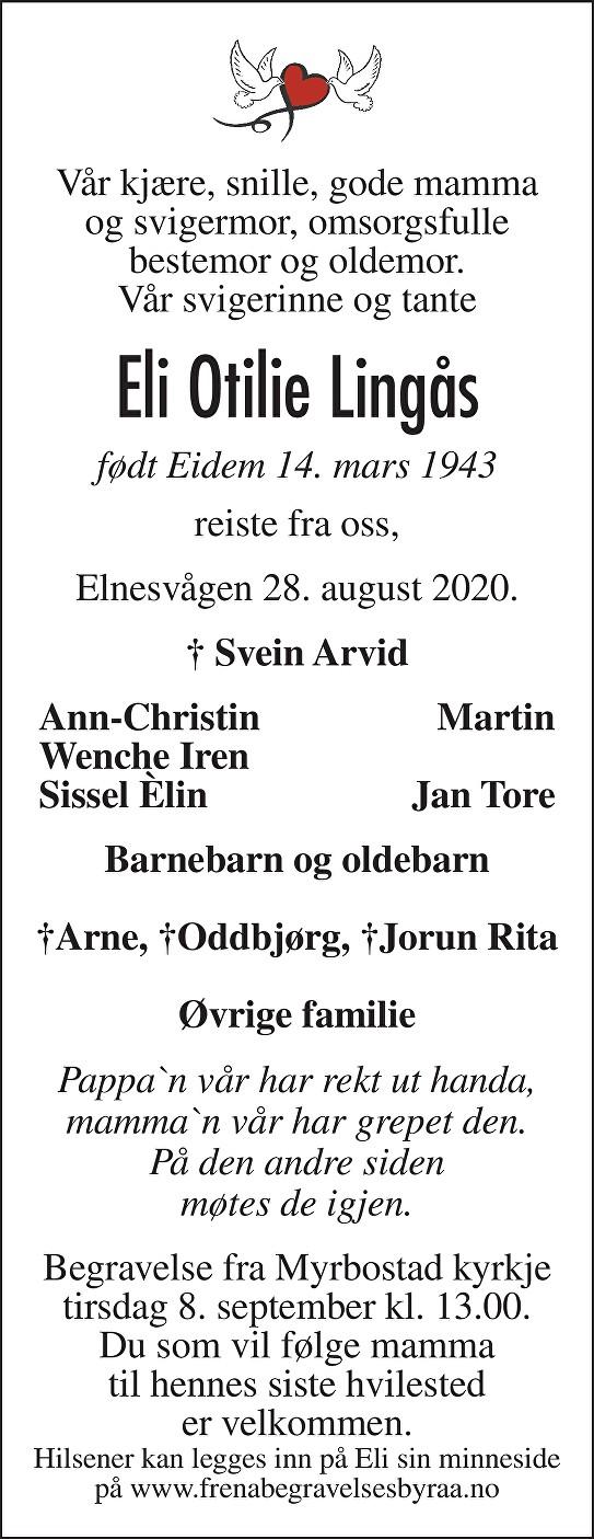 Eli Otilie Lingås Dødsannonse