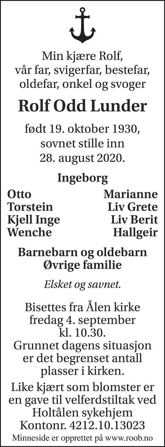 Rolf Odd Lunder Dødsannonse