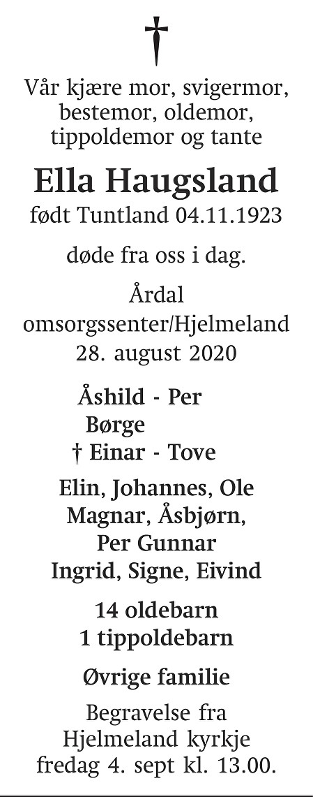Ella Haugsland Dødsannonse