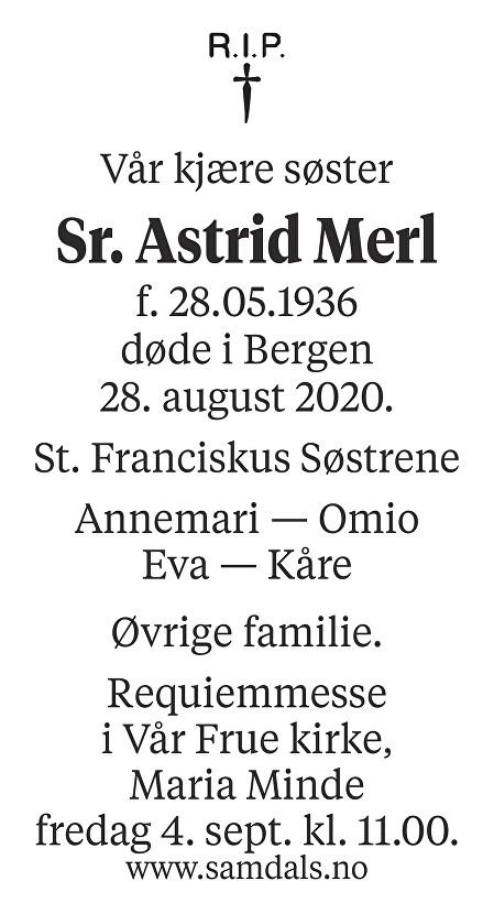 Astrid Emilie Merl Dødsannonse