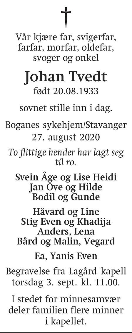 Johan Tvedt Dødsannonse