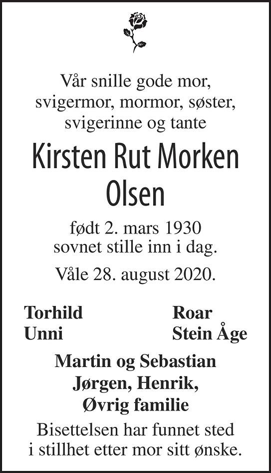 Kirsten Rut Morken Olsen Dødsannonse