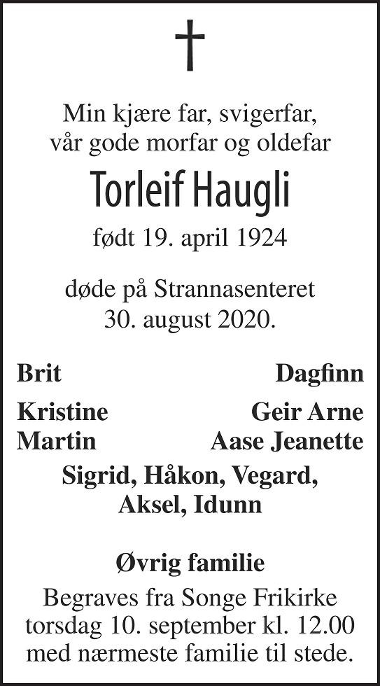 Torleif Haugli Dødsannonse
