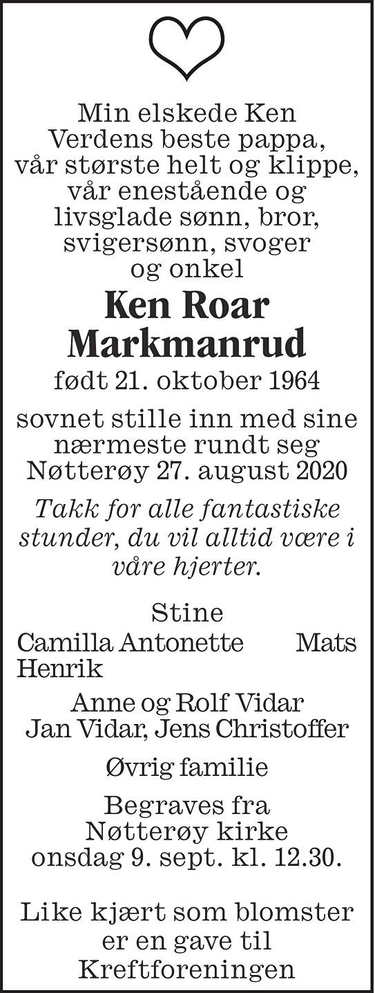 Ken Roar Markmanrud Dødsannonse